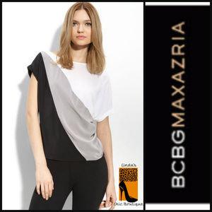BCBGMaxAzria Tops - BCBGMAXAZRIA SILK Colorblock Asymmetrical Top